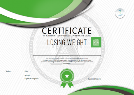 Losing weight certificate European Health Foundation