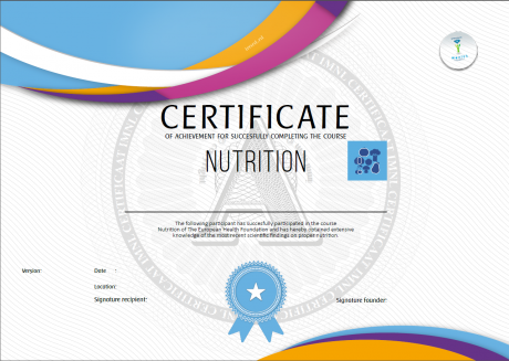 Nutrition Losing Weight Certificate - European Health Foundation